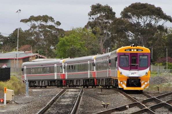 Freshly repainted into PTV livery, Sprinter 7012 leads an up Bacchus Marsh service into Sunshine