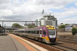 VLocity VL10 leads a down train into Footscray