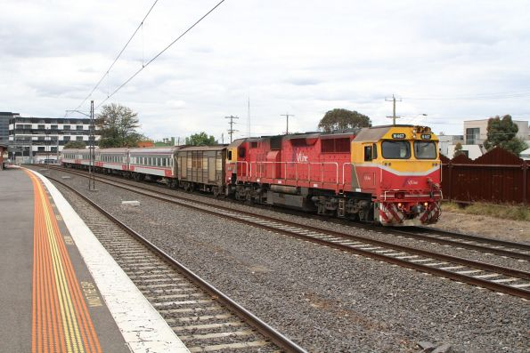 N467 and PH power van on a down Warrnambool service at Middle Footscray