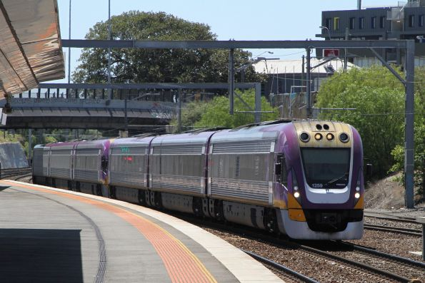 VLocity VL69 and classmate arrive into Footscray on a down Geelong service