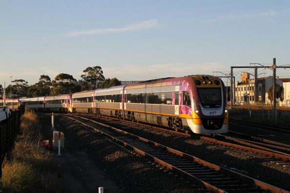 VLocity VL08 and classmate on an up Geelong service at Sunshine