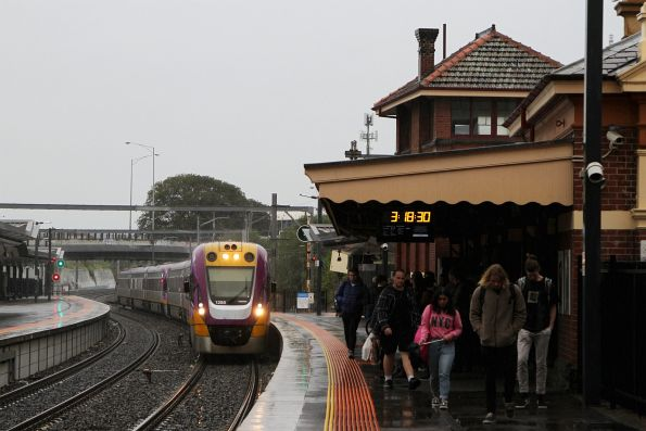 VLocity VL55 and classmate arrive into Footscray on a down Waurn Ponds service