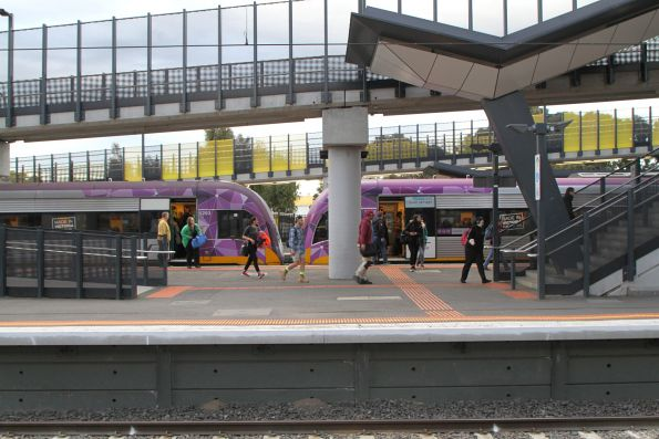 V/Line passengers exit their train at Sunshine station