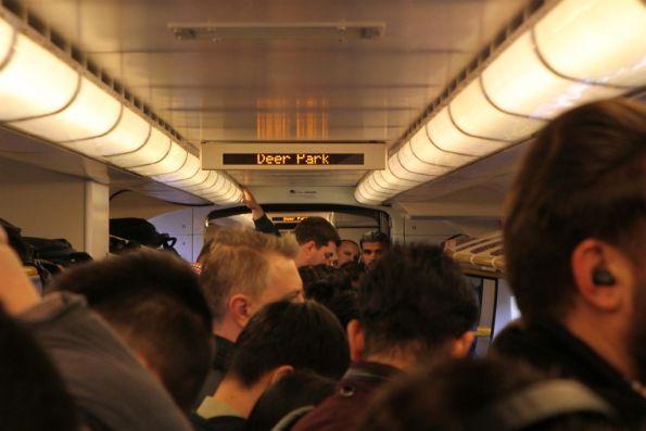 Full VLocity train at Deer Park heads for the city in morning peak
