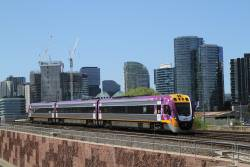 VLocity VL19 on a down Bendigo service over the North Melbourne flyover