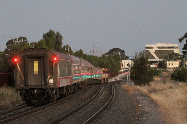 N455 leads N467 on a 10 carriage up Warrnambool service at Sunshine
