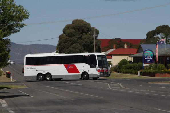 V/Line liveried Gold Bus Ballarat coach 7215AO departs Ararat on a V/Line service to Ouyen