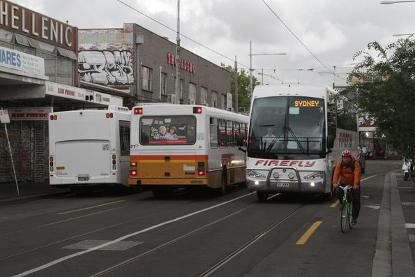 Firefly coach SB14KK negotiates the streets of Footscray, apparently bound for Sydney