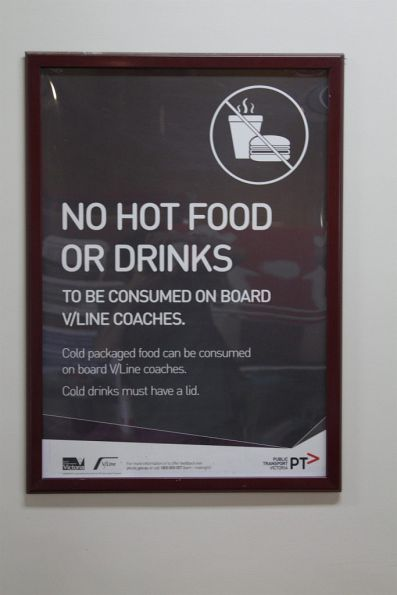 'No hot food or drinks onboard V/Line coaches' poster
