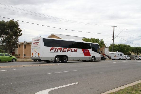 V/Line branded Firefly coach 5511AO arrives at Ararat station