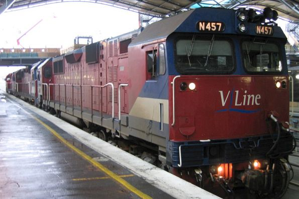 N457, N465 and N467 on arrival at Spencer Street Station