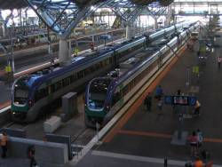 Two 3 unit VLocity sets waiting in the platforms