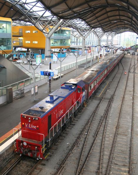 P18 - Pxx with five cars at Southern Cross with a Kilmore East train