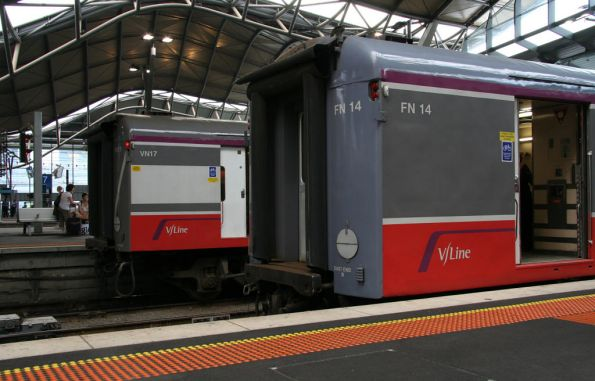 Variants of the new V/Line livery on carriage sets FN14 and VN17