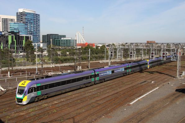 3VL21 arrives into Southern Cross with the 100th VLocity carriage