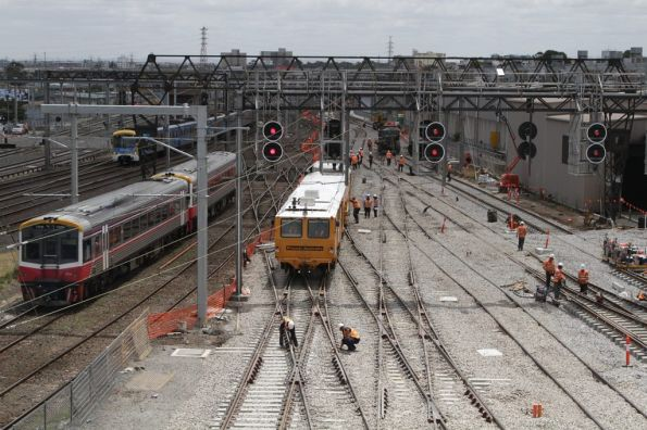 Seymour bound Sprinter passes the track realignment outside Southern Cross