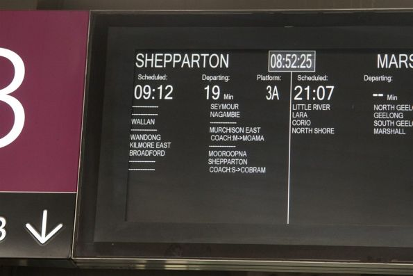 Phantom stations displayed on the Shepparton line between Nagambie, Murchison East and Mooroopna