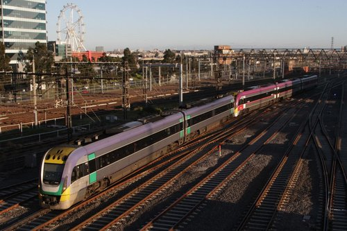 VLocity VL08 and classmate arrive at Southern Cross on the rearranged lead to the station