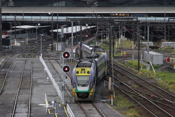 VLocity VL18 and classmate head into Southern Cross platform 8 via the new Country Bypass track