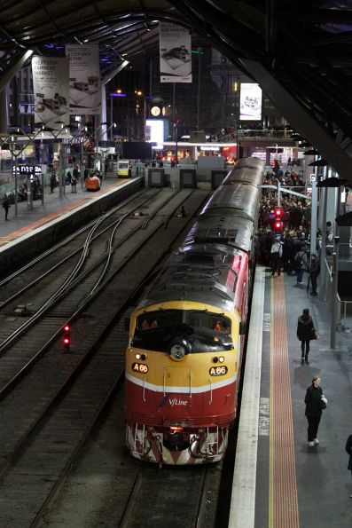 A66 ready to depart Southern Cross on a down Bacchus Marsh service