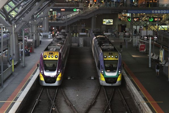 VLocity 3VL54 and 3VL34 sit side by side at Southern Cross