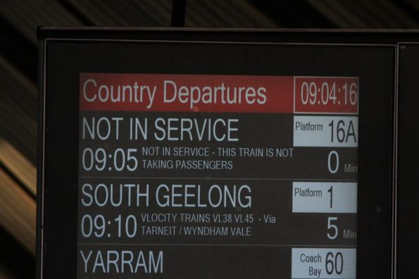 Next V/Line departure at Southern Cross is the '0905 Not in Service'