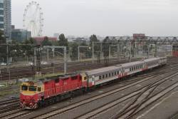 N457 leads the up Shepparton service into Southern Cross
