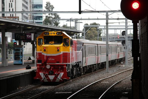 Freshly repainted V/Line locomotive P17 trails a push-pull service at Southern Cross platform 15