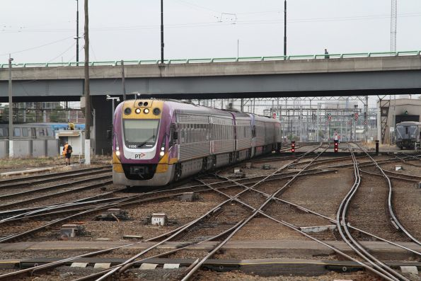 VLocity VL56 and classmate arrive at Southern Cross Station