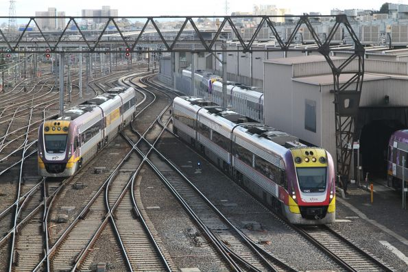 VLocity VL00 and VL45 run parallel into Southern Cross