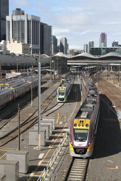 VLocity VL10 leads a down train out of Southern Cross via the Country Bypass tracks