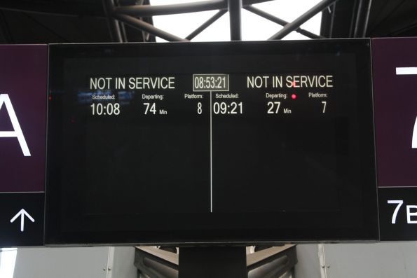 Trains to 'not in service' departing Southern Cross platform 7 and 8