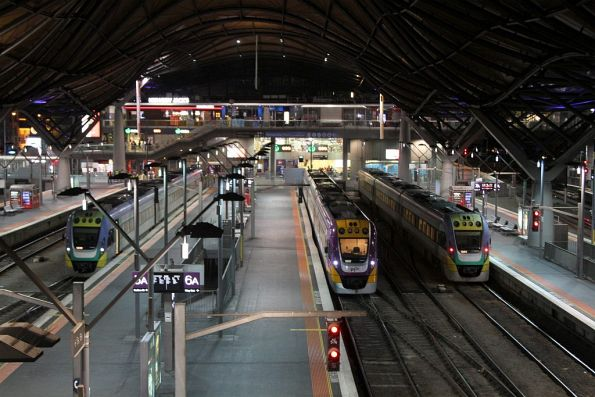 Trio of VLocity trains waiting at Southern Cross Station