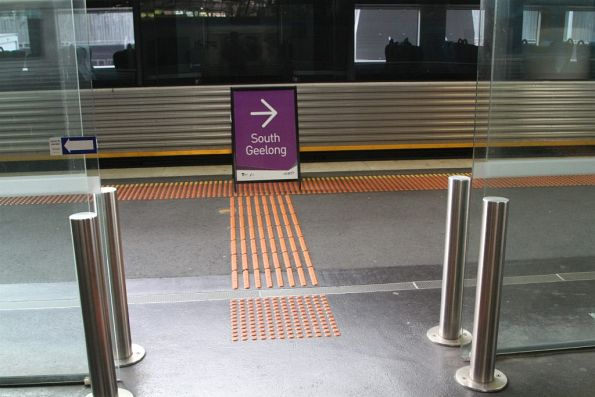 'South Geelong' sign directing passengers to their train at Southern Cross platform 16