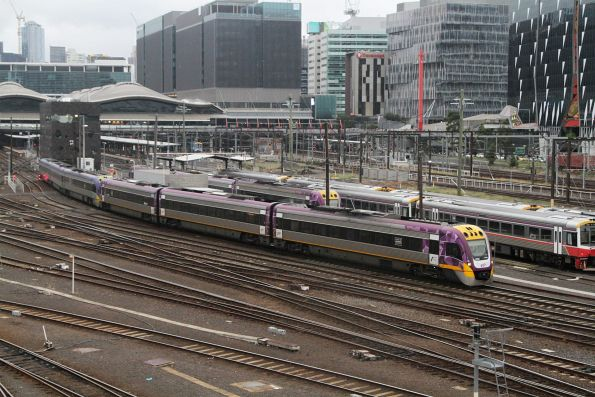 VLocity VL56 and classmate depart Southern Cross Station