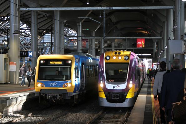 VLocity VL18 alongside X'Trapolis 232M on a down Werribee service at Southern Cross Station