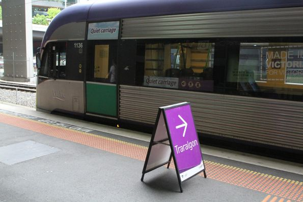 VLocity VL36 ready to form a down Traralgon service at Southern Cross platform 15