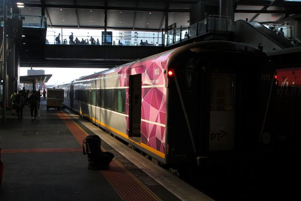 Carriage set N10 being readied for a down Swan Hill service at Southern Cross platform 5