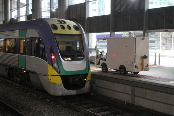 Fitters truck beside VLocity VL36 at Southern Cross platform 15