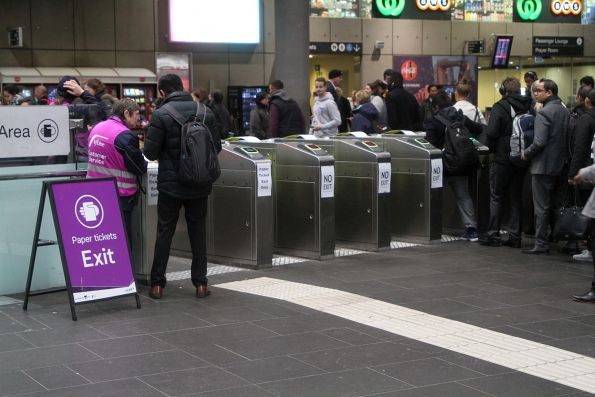 Paper 'NO EXIT' added to the myki gates at Southern Cross Station