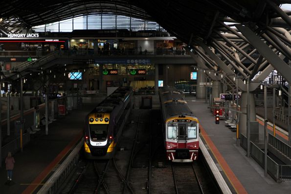 VLocity VL09 and Sprinter 7014 at Southern Cross Station