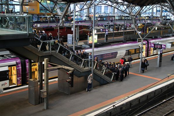 V/Line passengers queue to climb the steps from Southern Cross platform 7