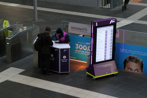 V/Line's new customer service desk at the Southern Cross Station ticket gates