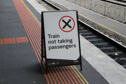 Portable 'Train not taking passengers' at Southern Cross platform 16
