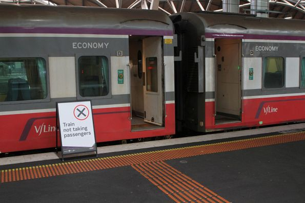 'Train not taking passengers' sign at Southern Cross platform 15