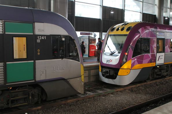 VLocity VL41 and VL68 form separate services at Southern Cross platform 15