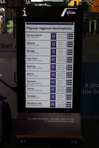 Cobblebank has been bumped from the 'Popular regional destinations' board at Southern Cross Station