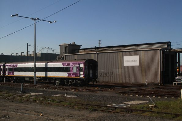 V/Line carriage set stabled out of the back of the Gemco shed