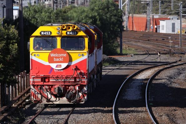 N453 leads N470 over the North Melbourne flyover to South Dynon towards Southern Cross