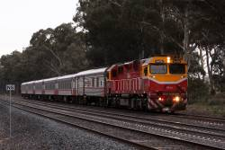N470 leads a late running up Albury train outside Seymour